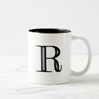 Damask Letter R - Black Two-Tone Mug