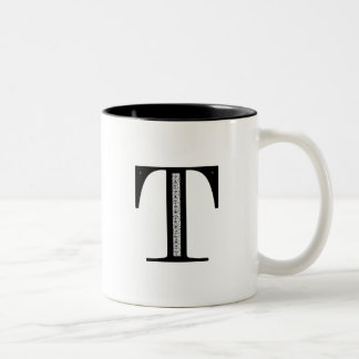 Damask Letter T - Black Two-Tone Mug