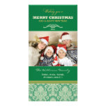 Damask Pattern Family Holiday Photocard (green) Photo Card