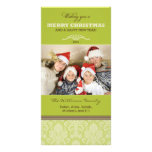 Damask Pattern Family Holiday Photocard (lime) Picture Card