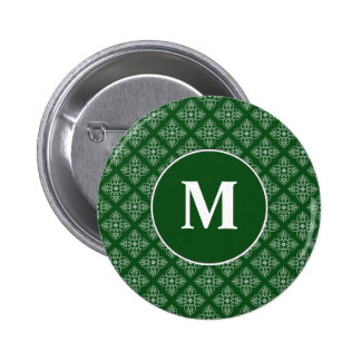 Damask pattern on dark green 6 cm round badge