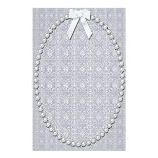 Damask, Pearls and Ribbon Design Personalised Stationery