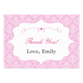 Damask Pink Thank You Tag Label Pack Of Chubby Business Cards