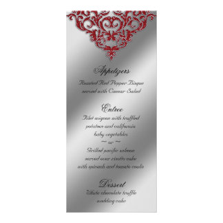 Damask Wedding Menu Cards Red Sparkle Xmas Rack Card Template