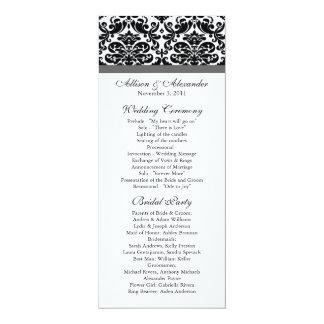 Damask Wedding Program Black & Charcoal Grey 10 Cm X 24 Cm Invitation Card