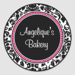 Damask with black centre and pink trim round sticker