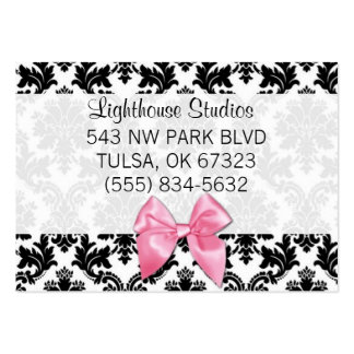 Damask with Pink Bow Pack Of Chubby Business Cards