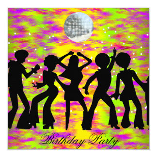 Dance Disco Birthday Party Invitation teal
