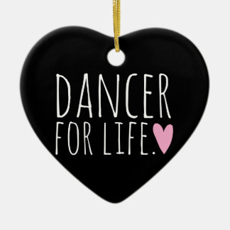 Dancer For Life Black with Heart Ceramic Heart Decoration