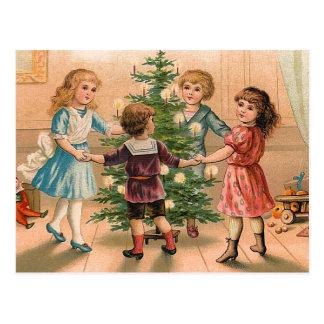 Dancing Around the Christmas Tree Postcard