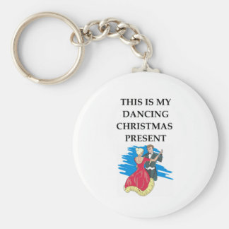 dancing christmas present basic round button key ring