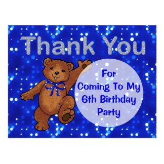 Dancing Teddy Bear 6th Birthday Party Thank You Postcard