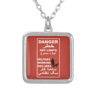 Danger Off Limits Sign, Afghanistan Square Pendant Necklace