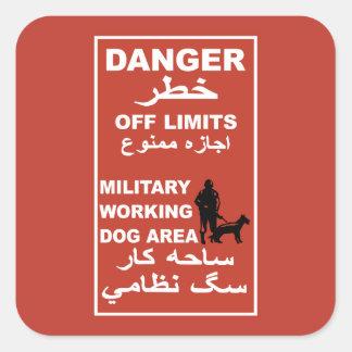 Danger Off Limits Sign, Afghanistan Square Sticker