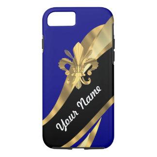 Dark blue & gold fleur de lys iPhone 7 case