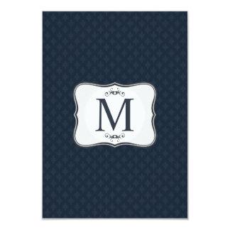 Dark Blue Pattern – Classy Men's Monogram 9 Cm X 13 Cm Invitation Card