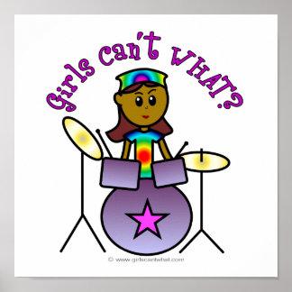 Dark Girl Playing Drums Poster