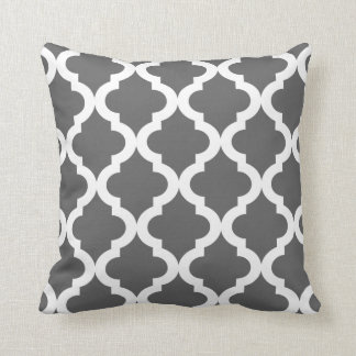 Dark Gray Moroccan Quatrefoil Print Throw Cushion