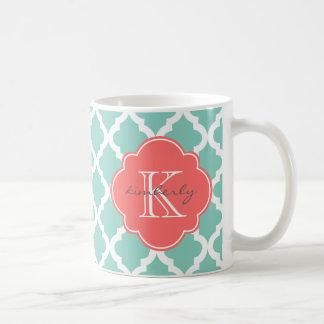 Dark Mint and Coral Moroccan Quatrefoil Print Basic White Mug
