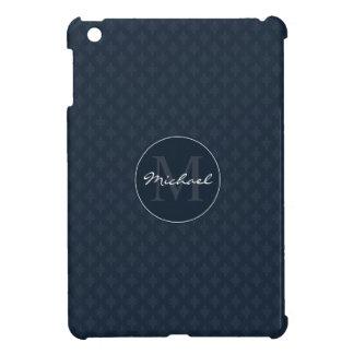 Dark Navy Blue Masculine Personalized Monogram iPad Mini Covers