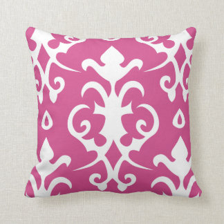 Dark Pink Vintage Pattern Damask Pillow Throw Cushions