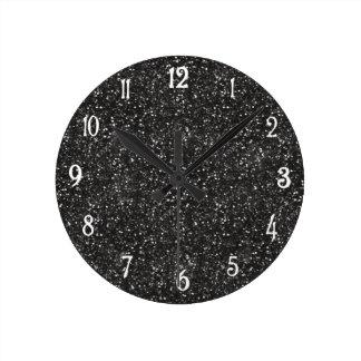 Dark Stylish Silver Grey Glitter Wall Clocks