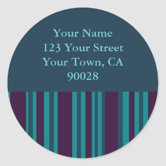 dark teal and purple striped address labels round sticker