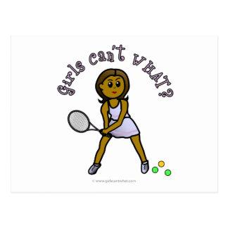 Dark Womens Tennis Player Postcard