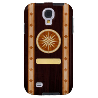 Dark Wood Inlay Compass & Name Plate Phone Case