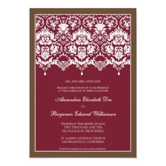 Darling Damask Lace 5x7 Wedding Invitation: berry 13 Cm X 18 Cm Invitation Card