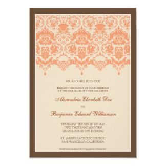 Darling Damask Lace 5x7 Wedding Invitation: coral 13 Cm X 18 Cm Invitation Card