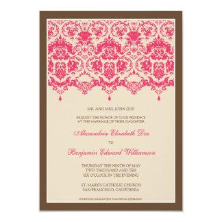 Darling Damask Lace 5x7 Wedding Invitation: pink 13 Cm X 18 Cm Invitation Card