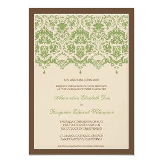 Darling Damask Lace 5x7 Wedding Invitation: sage 13 Cm X 18 Cm Invitation Card