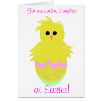 Darling Daughter Pink Baby Chick Greeting Card