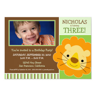 Darling Lion Boys Birthday Party Invite (lime)