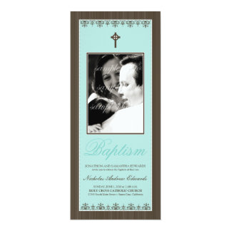"""Darling Victorian 4x9.25"""" Aqua Baptism Invitation"""