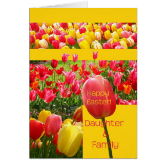 Daughter & Family Happy Easter Tulip card