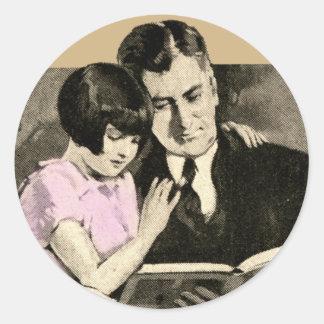Daughter Father Cute Vintage Reading Child Parent Round Sticker