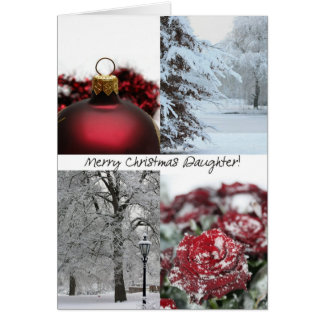 Daughter Merry Christmas! red winter snow collage Greeting Card