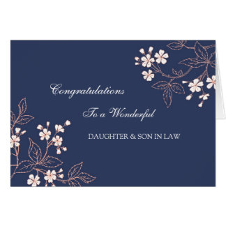 Daughter & Son In Law Wedding Congratulations Blue Greeting Card