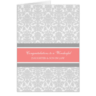 Daughter & Son In Law Wedding Congratulations Gray Greeting Card