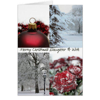 Daughter& wife Christmas Red Winter collage Greeting Card