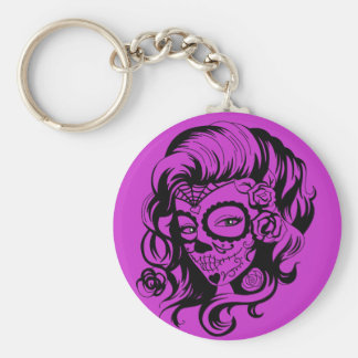 Day of the Dead Beauty Basic Round Button Key Ring