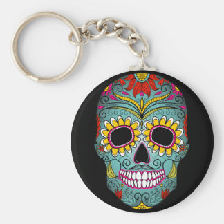 Day of the Dead Sugar Skull Basic Round Button Key Ring