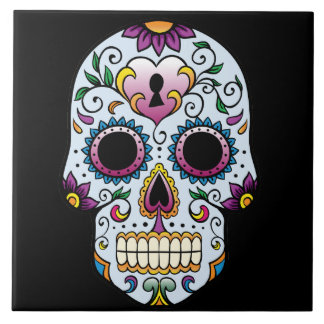 Day of the Dead Sugar Skull Blue Large Square Tile