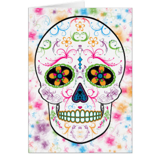 Day of the Dead Sugar Skull - Bright Multi Color Greeting Card