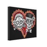 Day of the Dead Sugar Skull Couple Stretched Canvas Print