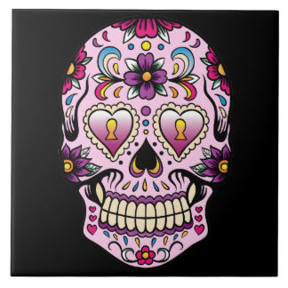 Day of the Dead Sugar Skull Pink Large Square Tile