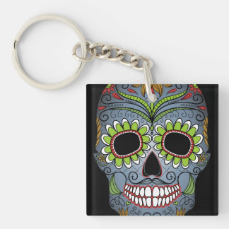 Day of the Dead Sugar Skull Single-Sided Square Acrylic Key Ring