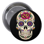 Day of the Dead Sugar Skull with Rose Button